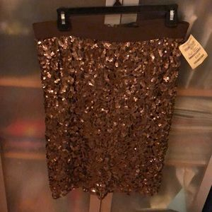 Copper sequined skirt